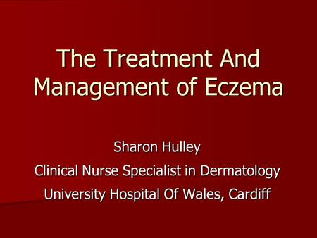 Pauline Brown Clinical Nurse Specialist Eczema/Allergies