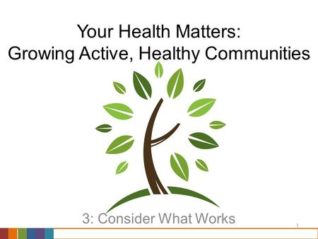 1 Your Health Matters: Growing Active, Healthy Communities 3: Consider What Works.