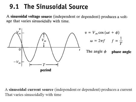 A sinusoidal current source (independent or dependent) produces a current That varies sinusoidally with time.