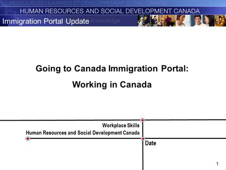 1 Immigration Portal Update Workplace Skills Human Resources and Social Development Canada Date Going to Canada Immigration Portal: Working in Canada.