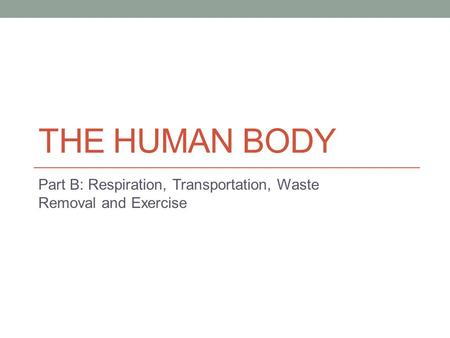 THE HUMAN BODY Part B: Respiration, Transportation, Waste Removal and Exercise.