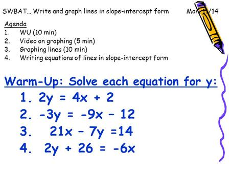 Swbat Write And Graph Lines In Slope Intercept Form Thurs 127