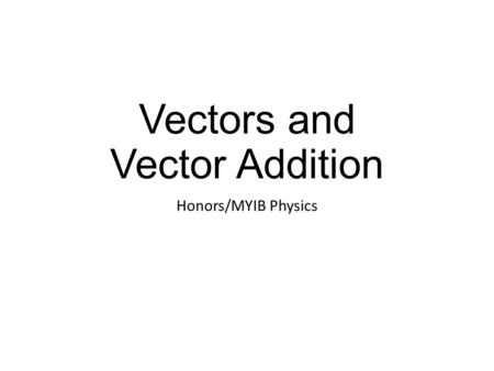 Vectors and Vector Addition Honors/MYIB Physics. This is a vector.