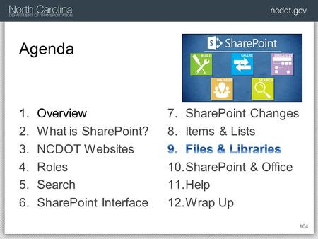 Agenda 104 1.Overview 2.What is SharePoint? 3.NCDOT Websites 4.Roles 5.Search 6.SharePoint Interface.