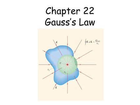 Chapter 22 Gauss's Law. Charles Allison © 2000 21-10 Motion of a Charged Particle in an Electric Field The force on an object of charge q in an electric.