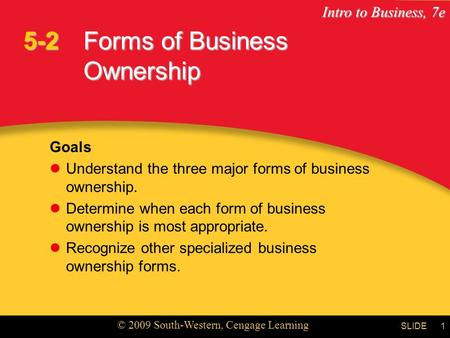 Intro to Business, 7e © 2009 South-Western, Cengage Learning SLIDE1 Forms of Business Ownership Goals Understand the three major forms of business ownership.