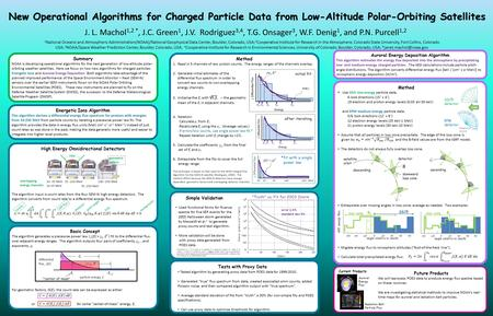 New Operational Algorithms for Charged Particle Data from Low-Altitude Polar-Orbiting Satellites J. L. Machol 1,2 *, J.C. Green 1, J.V. Rodriguez 3,4,
