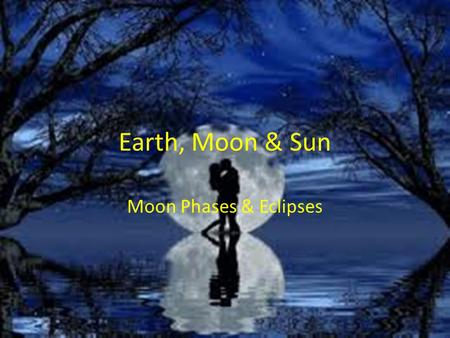 Earth, Moon & Sun Moon Phases & Eclipses. Essential Standards 6.E.1Understand the earth/moon/sun system, and the properties, structures and predictable.