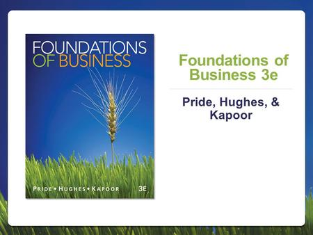 Foundations of Business 3e Pride, Hughes, & Kapoor.