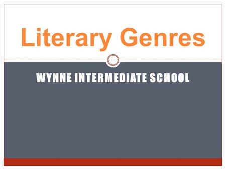 "WYNNE INTERMEDIATE SCHOOL Literary Genres. What is a genre?? Genre is just a fancy way of saying ""different categories or types of books"" such as fiction,"