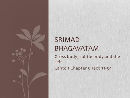 Gross body, subtle body and the self Canto 1 Chapter 3 Text 31-34 SRIMAD BHAGAVATAM.