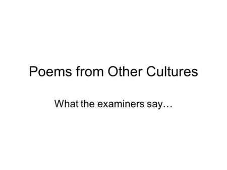 Poems from Other Cultures