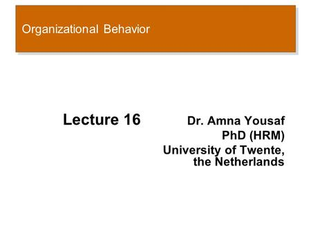 Organizational Behavior Lecture 16 Dr. Amna Yousaf PhD (HRM) University of Twente, the Netherlands.
