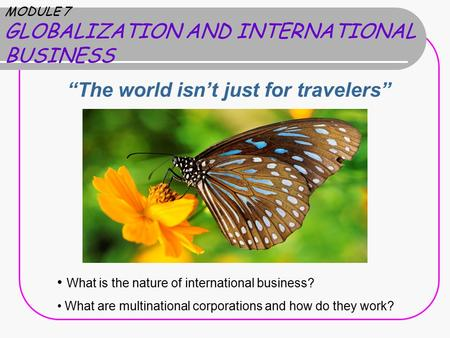"MODULE 7 GLOBALIZATION AND INTERNATIONAL BUSINESS ""The world isn't just for travelers"" What is the nature of international business? What are multinational."