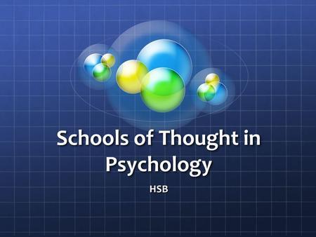 Schools of Thought in Psychology HSB. Like all social sciences, psychology has been divided into a number of schools of thought.