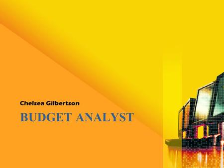 BUDGET ANALYST Chelsea Gilbertson. Basics of the Job What does a budget analyst do? –Budget analysts help public and private institutions organize their.