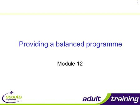 1 Providing a balanced programme Module 12. 2 Objectives By the end of the course you will be able to: Explain how the balanced programme meets the Scout.