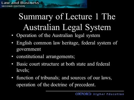 Summary of Lecture 1 The Australian Legal System