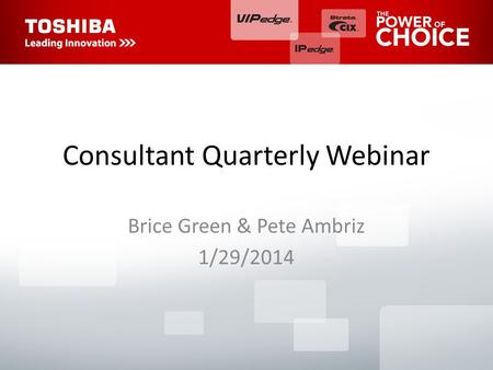 Consultant Quarterly Webinar Brice Green & Pete Ambriz 1/29/2014.