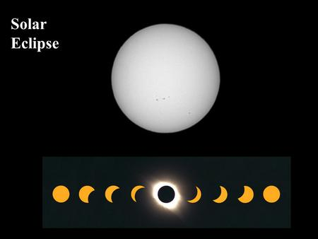 Solar Eclipse. Here is an animation showing a total solar eclipse Remember that it is not safe to stare at a solar eclipse !!!