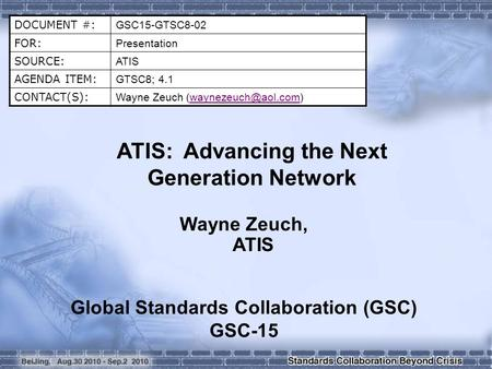 DOCUMENT #: GSC15-GTSC8-02 FOR: Presentation SOURCE: ATIS AGENDA ITEM: GTSC8; 4.1 CONTACT(S): Wayne Zeuch ATIS: