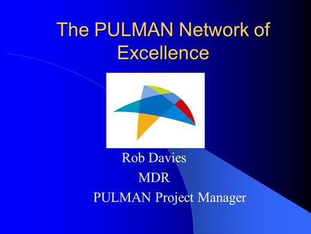 The PULMAN Network of Excellence Rob Davies MDR PULMAN Project Manager.