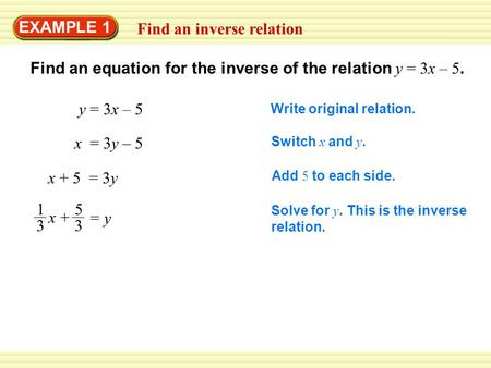 EXAMPLE 1 Find an inverse relation Find an equation for the inverse of the relation y = 3x – 5. Write original relation. y = 3x – 5 Switch x and y. x =