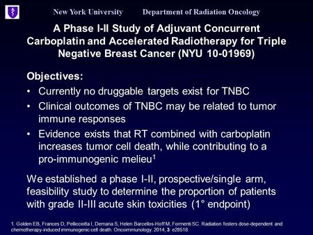 New York University Department of Radiation Oncology A Phase I-II Study of Adjuvant Concurrent Carboplatin and Accelerated Radiotherapy for Triple Negative.