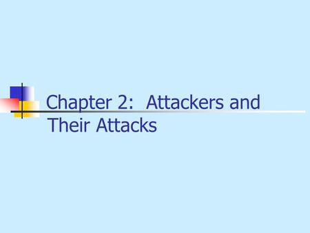 Chapter 2: Attackers <strong>and</strong> Their Attacks. 2 OBJECTIVES Develop attacker profiles Describe basic attacks Describe identity attacks Identify denial of service.