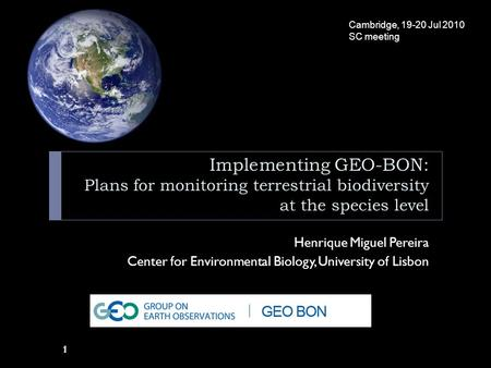 1 Implementing GEO-BON: Plans for monitoring terrestrial biodiversity at the species level Henrique Miguel Pereira Center for Environmental Biology, University.