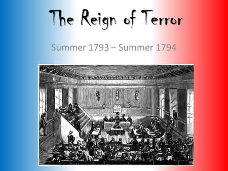 The Reign of Terror Summer 1793 – Summer 1794. Opposition to the Revolution March 1793: A draft of 300,000 is called for and The Vendee Rebellion erupts.
