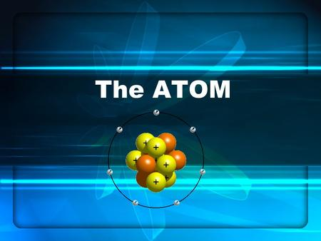 The ATOM The atom consists of three basic parts: The 3 parts: Proton: + charge( +1) Neutron: no charge (0) Electron: - charge (-1) The proton and neutron.
