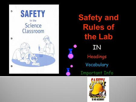 IN Headings Vocabulary Important Info. Know safety symbols They appear in your laboratory activities They will alert you to possible dangers They will.