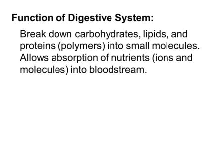 Function of Digestive System: Break down carbohydrates, lipids, and proteins (polymers) into small molecules. Allows absorption of nutrients (ions and.