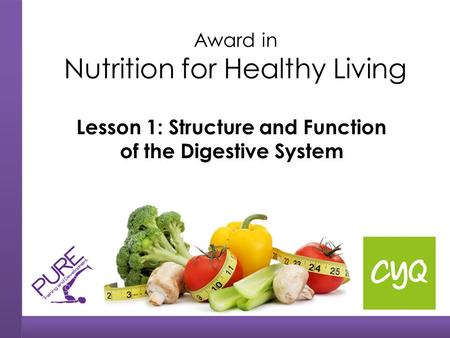 Award in Nutrition for Healthy Living Lesson 1: Structure and Function of the Digestive System.