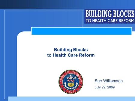 Company LOGO Building Blocks to Health Care Reform Sue Williamson July 29, 2009.