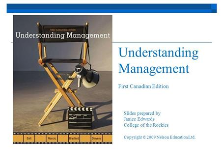 Understanding Management First Canadian Edition Slides prepared by Janice Edwards College of the Rockies Copyright © 2009 Nelson Education Ltd.