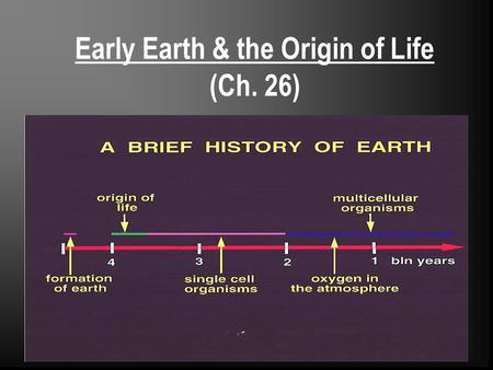 Early Earth & the Origin of Life (Ch. 26)