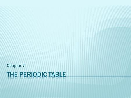 Chapter 7 The periodic table.