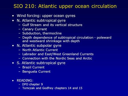 SIO 210: Atlantic upper ocean circulation Wind forcing: upper ocean gyres N. Atlantic subtropical gyre –Gulf Stream and its vertical structure –Canary.