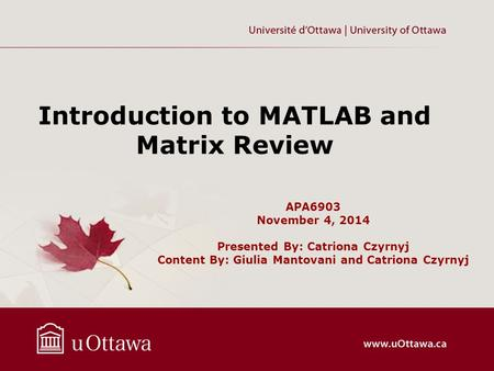 APA6903 November 4, 2014 Presented By: Catriona Czyrnyj Content By: Giulia Mantovani and Catriona Czyrnyj Introduction to MATLAB and Matrix Review.