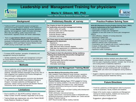 Leadership and Management Training for physicians Maria V. Gibson, MD, PhD Trident / MUSC Family Medicine Residency Program Background Practice Problem.