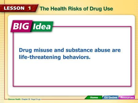 Drug misuse and substance abuse are life-threatening behaviors.