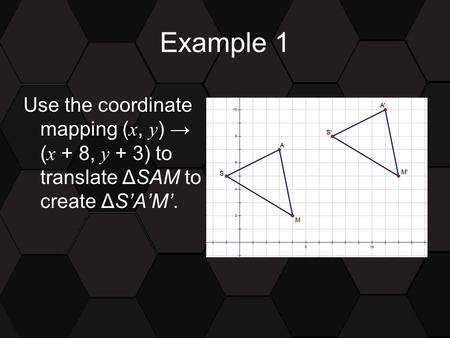 Example 1 Use the coordinate mapping ( x, y ) → ( x + 8, y + 3) to translate ΔSAM to create ΔS'A'M'.