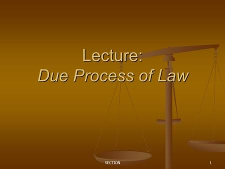 "SECTION1 Lecture: Due Process of Law. SECTION2 Pair Share: The 5th Amendment declares that the Federal Government cannot deprive any person of ""life,"