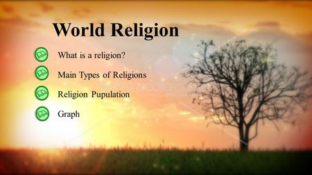 World Religion What is a religion? Main Types of Religions Religion Pupulation Graph.