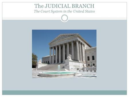 The JUDICIAL BRANCH The Court System in the United States.