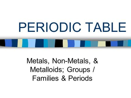 Metals, Non-Metals, & Metalloids; Groups / Families & Periods