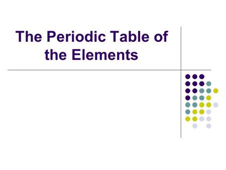 The Periodic Table of the Elements. Elements: pure substances made of only 1 kind of atom Period: row of elements across table every element in period.