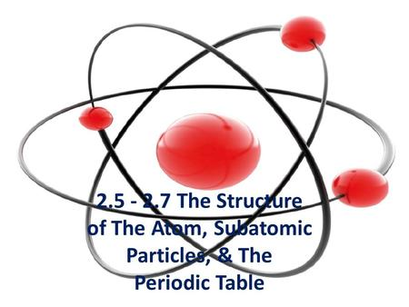 The Structure of The Atom, Subatomic Particles, & The Periodic Table